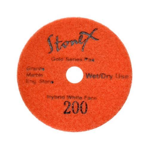 "Stonex Hybrid Wet/Dry White Face Polishing Pads - Gold Series - 100mm / 4"""