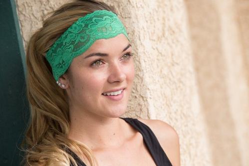 Kelly Green Lacy Headband
