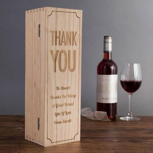 Personalised Thank You Wooden Wine Box