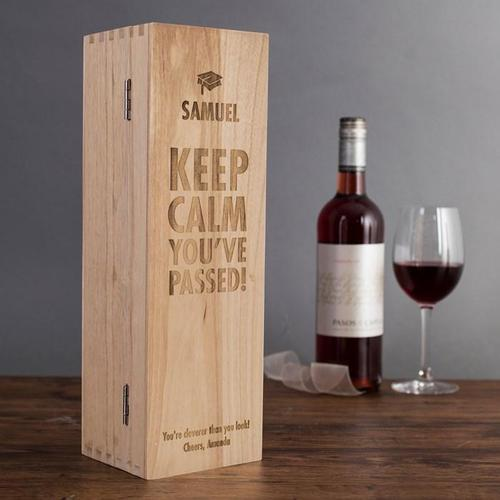 Keep Calm You've Passed Wooden Wine/Whiskey Box