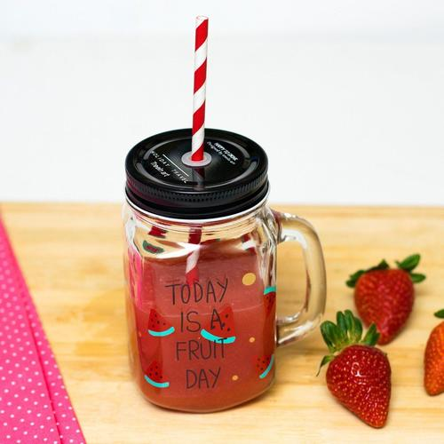 Fruity Glass Mason Jar