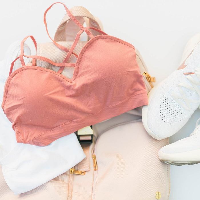 Sporty Caged Padded Bralette - Dusty Rose
