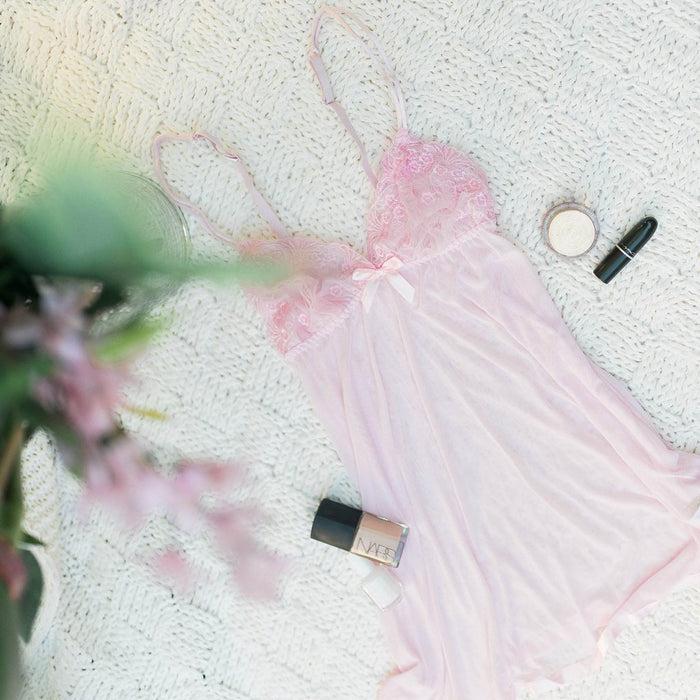 Lace & Mesh Babydoll - Light Pink