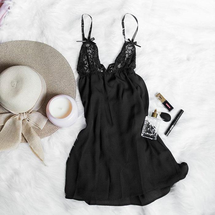 Lacy Top Babydoll - Black