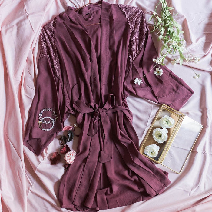Lacy Panel Robe - Rose