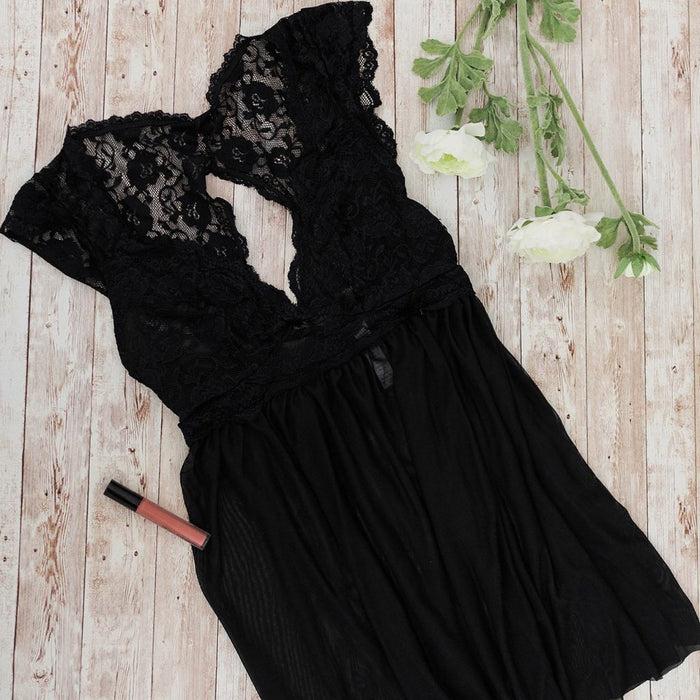 Lacy Back Babydoll - Black - Plus Size