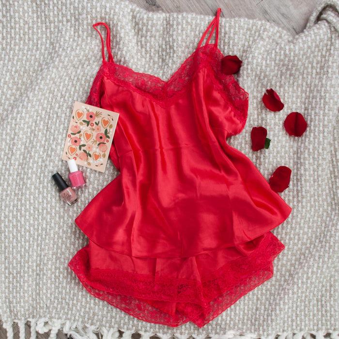 Satin Top & Shorts Lingerie Set - Plus Size