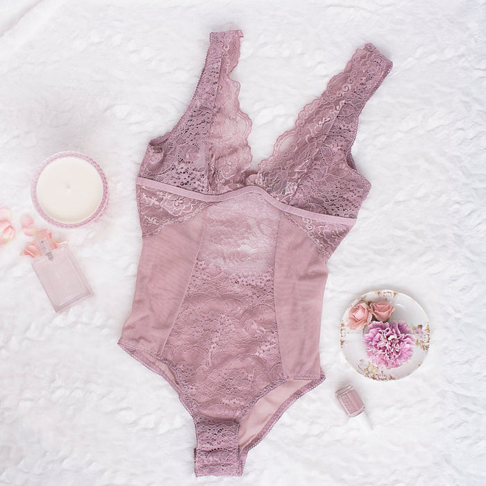 Lace & Mesh Plunge Neck Teddy - Dusty Pink