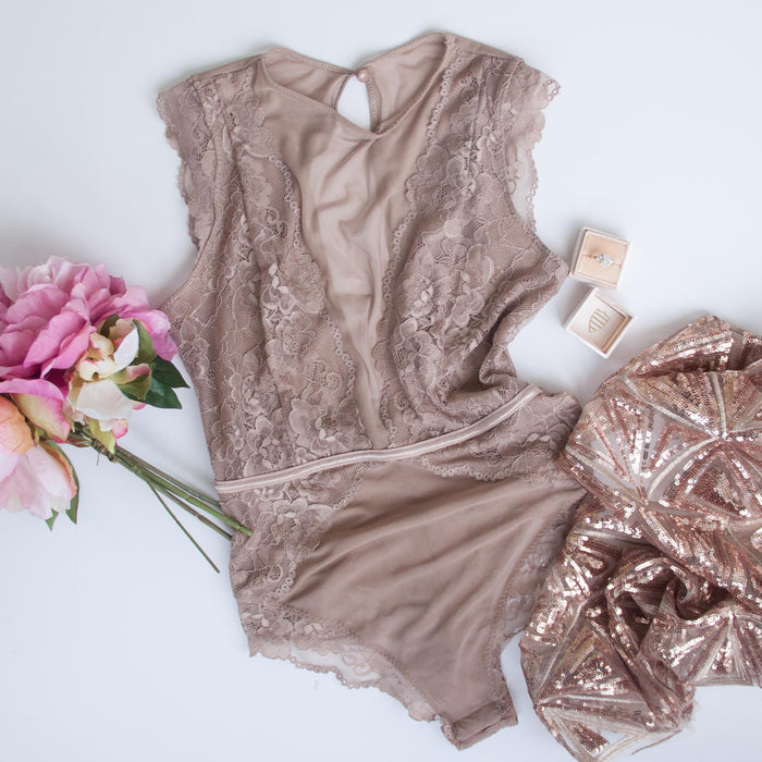 Mesh Plunge Scalloped Lace Teddy - Taupe