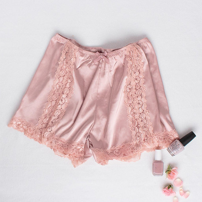 Satin & Lace Shorts - Blush