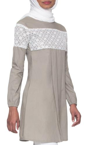 Leena Long Lace Accent Fine Cotton Tunic - Mocha