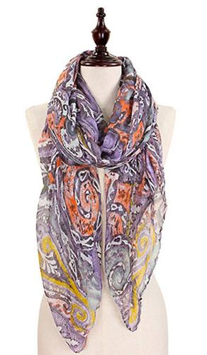 Abstract Print Wrap Hijab Scarf - Purple Gray