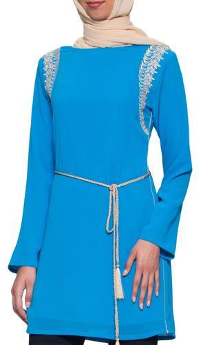 Saida Embroidered Long Modest Tunic - Blue