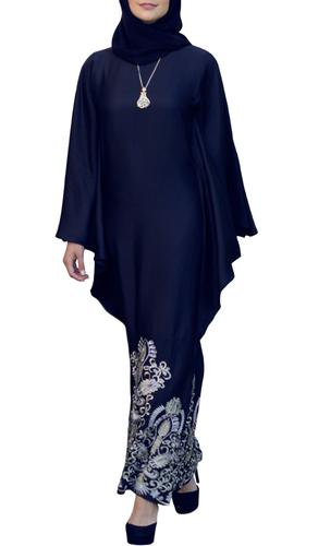 Amara Embroidered Formal Kaftan Abaya Dress - Navy