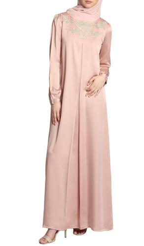 Jasmin Embroidered Formal Long Sleeve Modest Evening Dress - Blush Pink