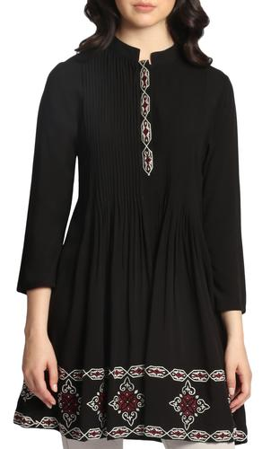 Zarina Embroidered Long Modest Tunic Dress - Black