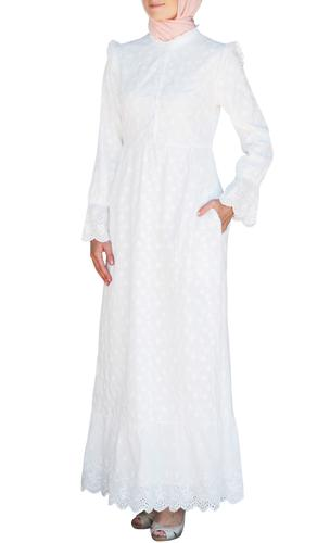 Magda Long Embroidered Cotton Maxi Dress - White