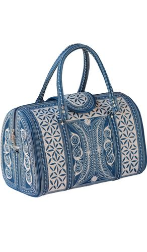 Exquisite Embroidered Vegan Handbag - Blue/ Cream
