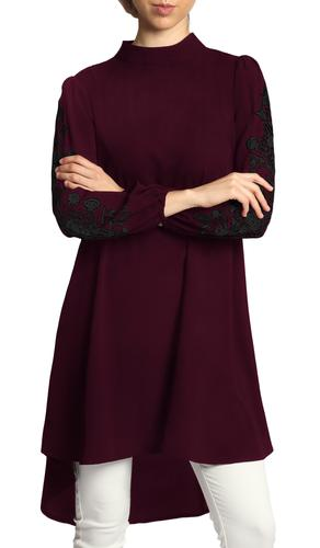 Seher Embroidered Modest Midi Tunic Dress - Maroon