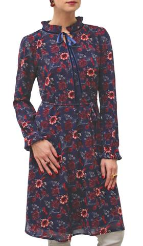Nabila Long Modest Midi Tunic Dress - Navy / Maroon