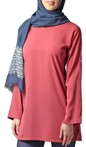 Sera Long Modest Two Way Tunic - Rose Pink