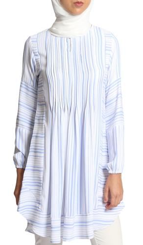 Ismet Stripe Chiffon Modest Long Tunic Dress - Blue and White