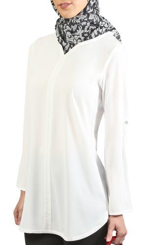 Hena Long Modest Everyday Tunic - Off White