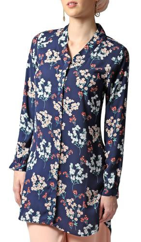 Cyra Floral Print Buttondown Tunic - Navy