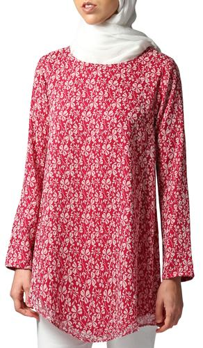 Amber Long Loose Floral Print Modest Top - Maroon