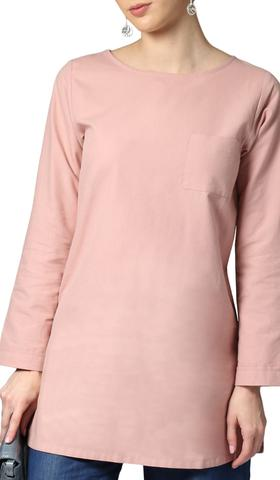 Fifi Easy Cotton Chambray Tunic - Pink