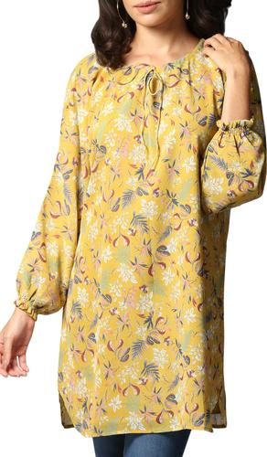 Dua Floral Print Chiffon Boho Modest Tunic Dress - Saffron Yellow