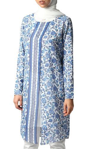 Ana Long Floral Print Chiffon Modest Midi Dress - Blue & White