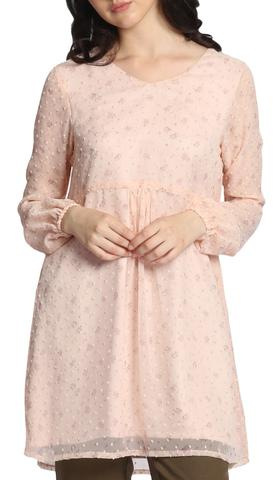 Subha Long Modest Boho Tunic Dress - Blush Pink