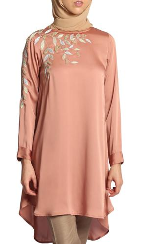 Hawa Embroidered Formal Long Modest Tunic - Copper