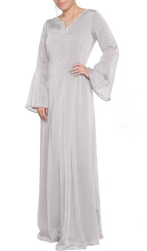 Abda Jeweled Formal Muslim Evening Dress - Silver