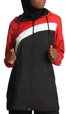 Celia Hooded Long Modest Sport Jacket - Black/Red