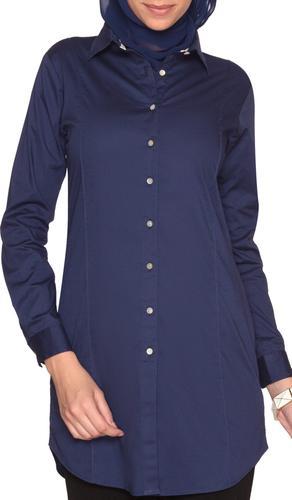 Rania Long Collar Buttondown Dress Shirt - Navy