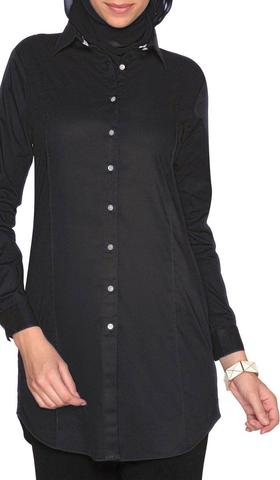 Rania Long Collar Buttondown Dress Shirt - Black