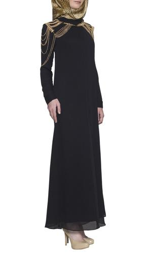 Dasha Elegant Chiffon Maxi Abaya Dress - Black