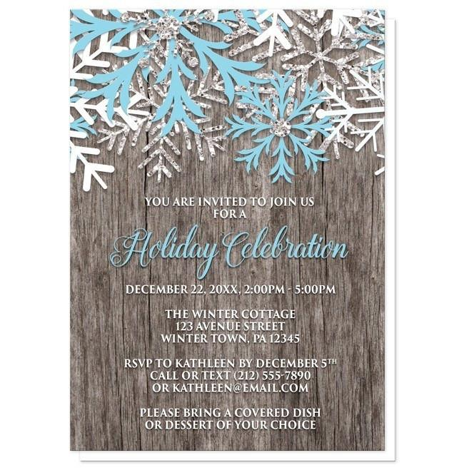 Rustic Winter Wood Snowflake Holiday Invitations