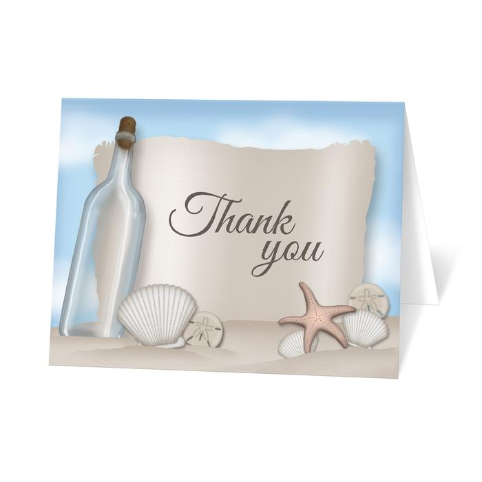 Thank You Cards - Beach Message from a Bottle