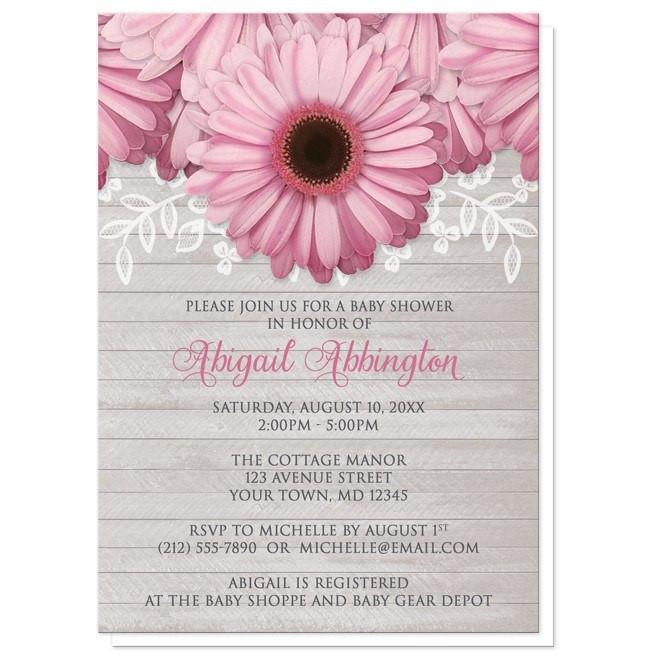 Rustic Pink Daisy Gray Wood Baby Shower Invitations