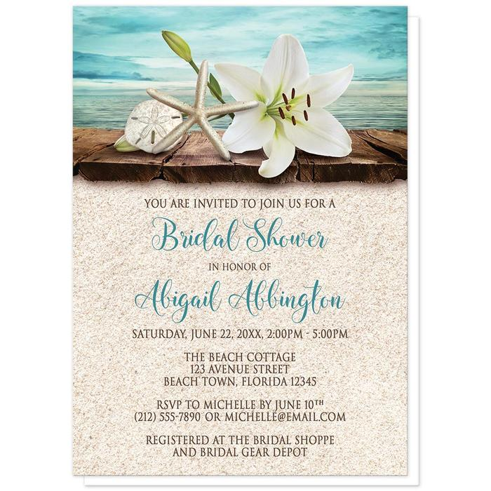 Bridal Shower Invitations - Lily Seashells Sand Beach