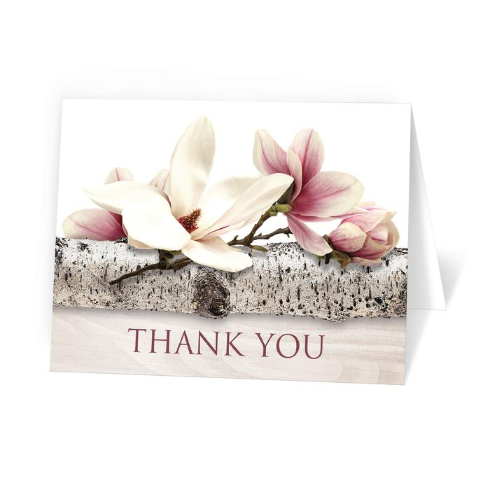 Magnolia Birch Light Wood Floral Thank You Cards