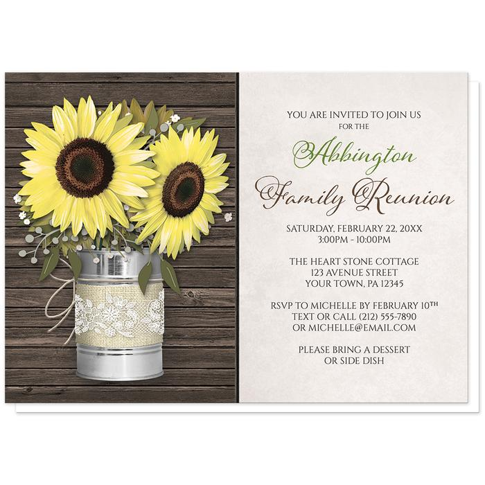 Rustic Burlap and Lace Tin Can Sunflower Family Reunion Invitations