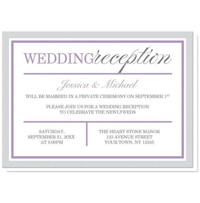 Modern Gray and Purple Reception Only Invitations