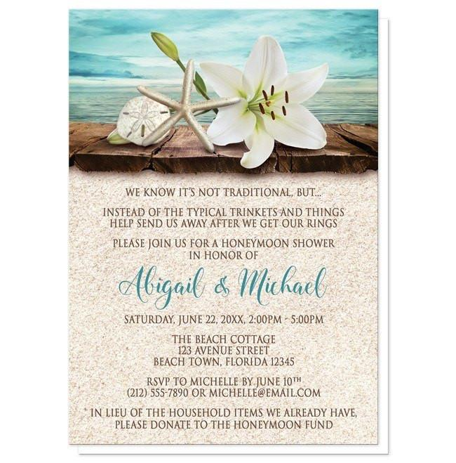 Lily Seashells Sand Beach Honeymoon Shower Invitations