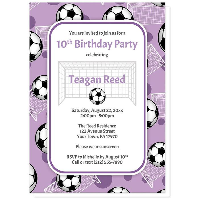 Soccer Ball and Goal Pattern Purple Birthday Party Invitations