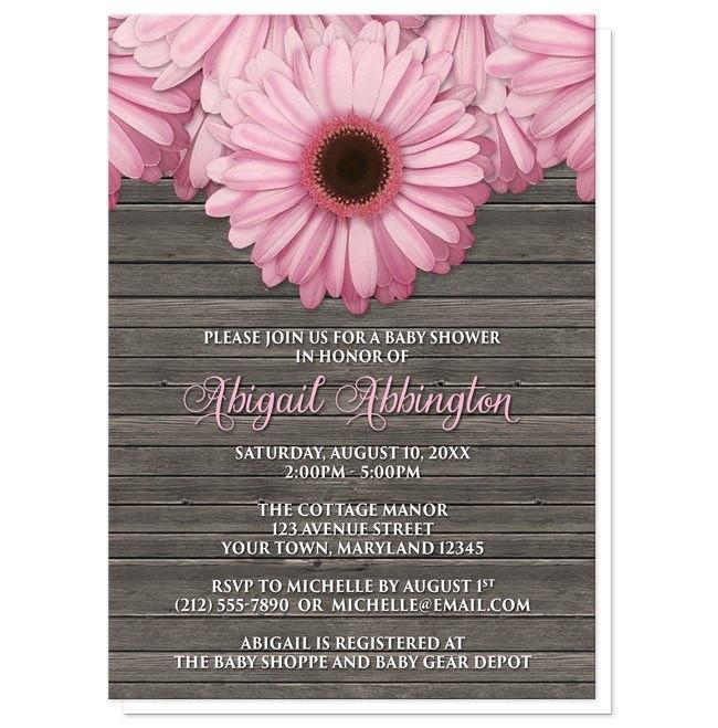 Rustic Pink Daisy Brown Wood Baby Shower Invitations