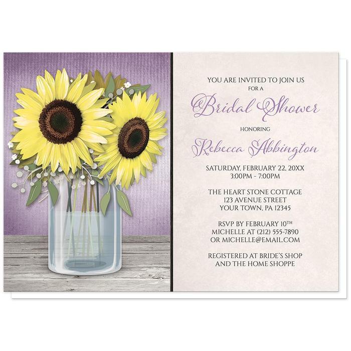 Sunflower Purple Mason Jar Rustic Bridal Shower Invitations